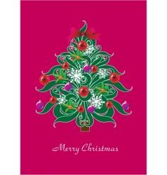 beautiful christmas tree christmas card vector image vector image