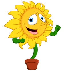 Cartoon smile sunflower vector image vector image