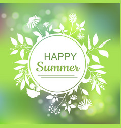 happy summer green card design vector image
