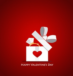 Happy valentines day Gift box with Wedding ring vector image