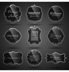 Set of glass labels vector image vector image