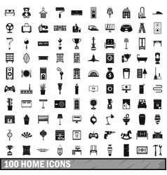 100 home icons set simple style vector image vector image