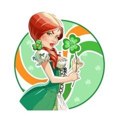 Beautiful girl with shamrock vector image