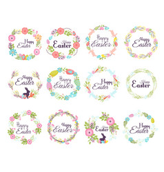 happy easter hand drawn badge hand lettering vector image