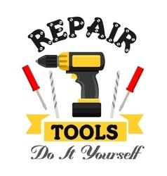 Repair work tools emblem vector image vector image