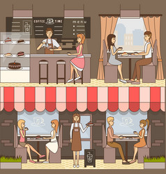 set of coffee horizontal banners in flat vector image vector image