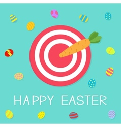 Target with carrot arrow and colored eggs Happy vector image vector image