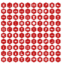 100 sport accessories icons hexagon red vector