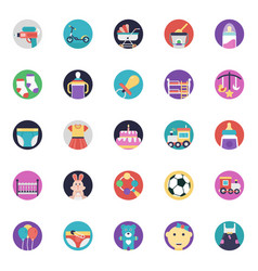 a icons pack of baby and kids vector image