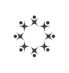Abstract black people together as circle teamwork vector