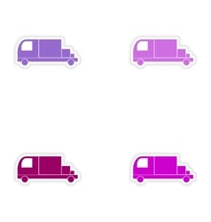 Assembly realistic sticker design on paper trucks vector