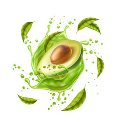 avocado juice splash explosion in motion vector image