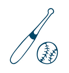 baseball bat icon in doodle style isolated on vector image