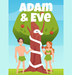 Biblical banner with eve and adam under tree flat vector