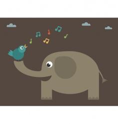 bird singing on elephant vector image