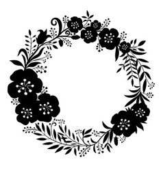 Black beautiful wreath flowers and plants vector