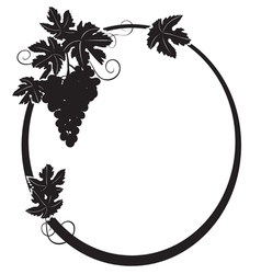 black silhouette - oval frame with grape vector image
