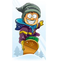 boy playing snowboard vector image