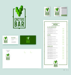 Cactus bar logo original mexican cuisine vector