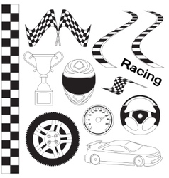 Car race icons set vector image