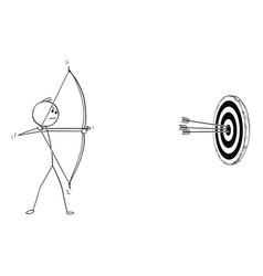 Cartoon of archer with bow and arrow shooting vector