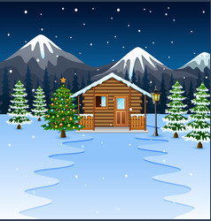 Cartoon of wooden house with christmas tree vector
