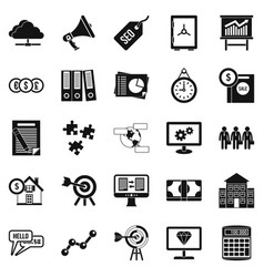 Cash consideration icons set simple style vector