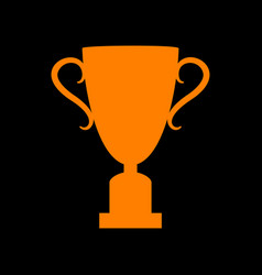 champions cup sign orange icon on black vector image