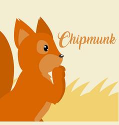 chipmunk cute animal cartoon vector image