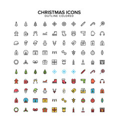 christmas outline colored icon set vector image