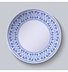 Circular blue flower pattern with empty space in vector image