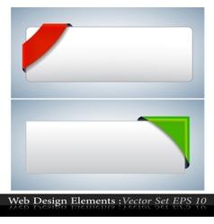 colored corner ribbon set vector image
