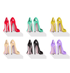 Colorful high heel shoes set vector