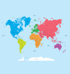 Continents of the world and political map vector