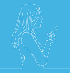 continuous line woman pointing with finger concept vector image