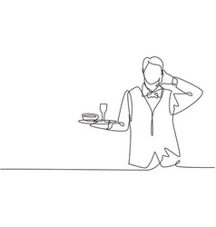 Continuous one line drawing waiter with call me vector