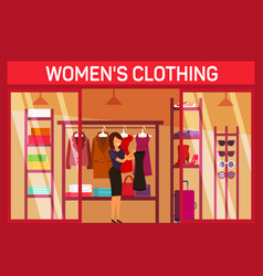 Costumer choosing cloth at fashion womans shop vector