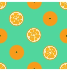 Cute seamless pattern with orange slices on red vector image