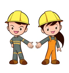 Cute smart worker boy and girl vector