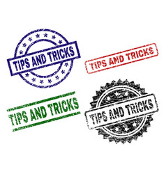 damaged textured tips and tricks stamp seals vector image