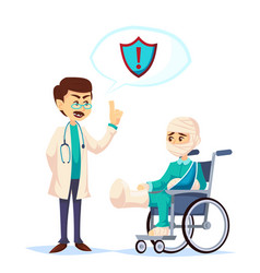 doctor talking about insurance coverage safety vector image