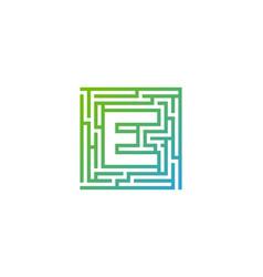 e maze letter logo icon design vector image