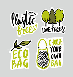eco emblem with bag and lettering trees protect vector image