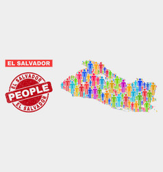 El salvador map population people and corroded vector