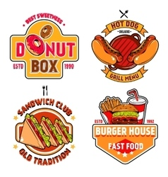 Fast Food Emblem Set vector