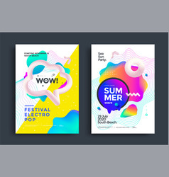 Festival electro pop poster layout music fest vector