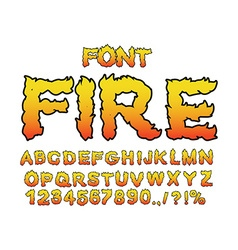 Fire font Flame ABC Fiery letters Burning alphabet vector image