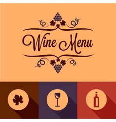 Flat wine menu design elements vector
