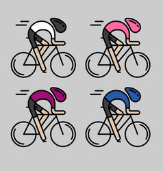 Four flat bicyclists side view vector