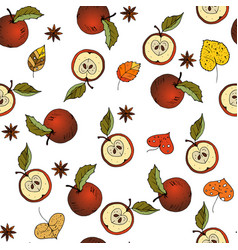 Fresh red apples background hand drawn icons vector
